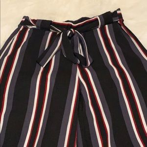Striped tie in the front wide leg dress pants